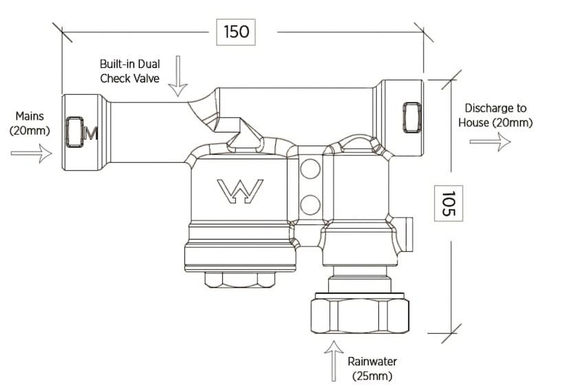 Reefe RM1600-2 floatless rain to mains valve diagram - Water Pumps Now