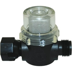 Shurflo pump strainer half inch male BSP half inch female BSP swivel connection - Water Pumps Now